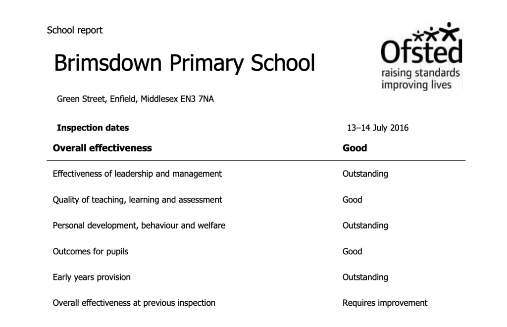 BPS Ofsted report overall effectiveness screenshot from report